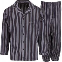 Ambassador flanellen pyjama - Zwart / Grijs