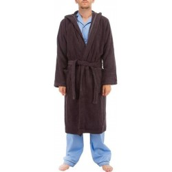 Donkergrijs hooded badjas
